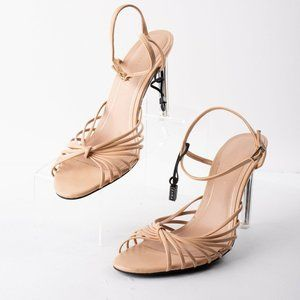 Zara Womens Nude Tan Stiletto Strappy Pumps methac